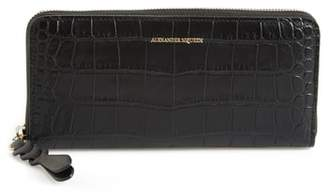 Alexander McQueen Croc-Embossed Leather Zip Around Wallet