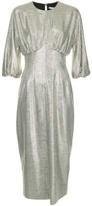 Emilia Wickstead metallic puff sleeve dress