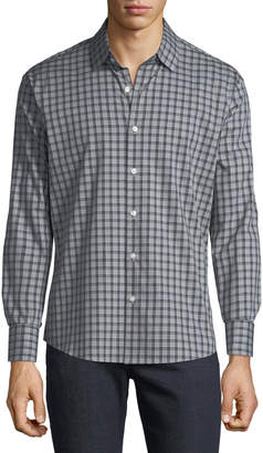 Neiman Marcus Men's Slim-Fit Dobby Check Button-Down Sport Shirt