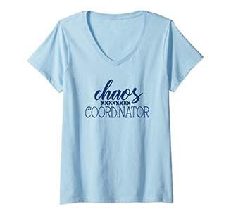 Chaos Womens Coordinator Funny Printed Graphic Mom Babysitter Nanny V-Neck T-Shirt