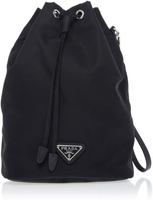 Prada Vela Leather-Trimmed Canvas Drawstring Backpack