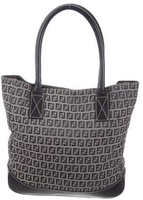 Fendi Leather-Trimmed Zucca Tote Navy Leather-Trimmed Zucca Tote