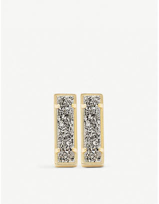 Kendra Scott Lady 14ct gold-plated and platinum drusy bar earrings
