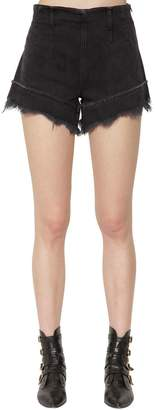 Philosophy di Lorenzo Serafini High Waist Fringed Denim Shorts