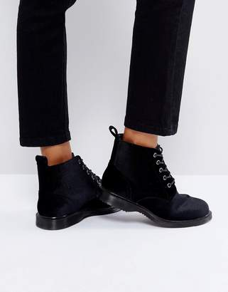 Truffle Collection Lace Up Velvet Ankle Boots