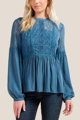 Liza Lace Peplum Blouse - Dark Teal