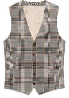 Gucci Retro check wool formal vest