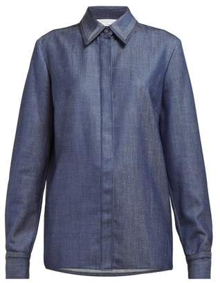 Gabriela Hearst Cruz Point Collar Wool Blend Shirt - Womens - Blue