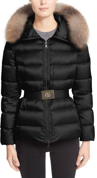 Moncler Women's Moncler 'Tatie' Belted Down Puffer Coat With Removable Genuine Fox Fur Trim