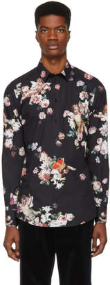 Dolce & Gabbana Black Flower Gold Fit Shirt