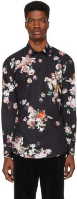 Dolce & Gabbana Black Flower Gold Fit Shirt