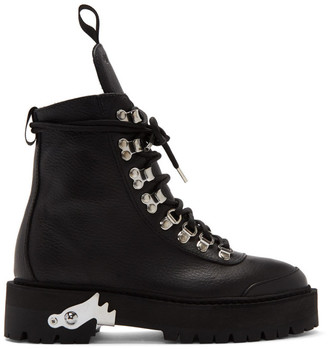 Off-White Off White Black Leather Hiking Boots