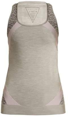 Laain - Raphaela Leopard Print Performance Tank Top - Womens - Grey Multi