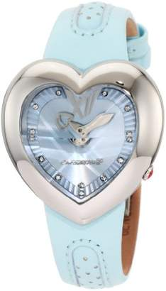 Chronotech Women's CT.7688L/04 Heart Shape Light Blue Leather Watch