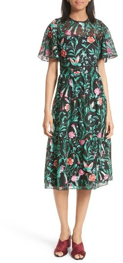 Kate Spade Women's Kate Spade New York Jardin Embroidered Lace Midi Dress