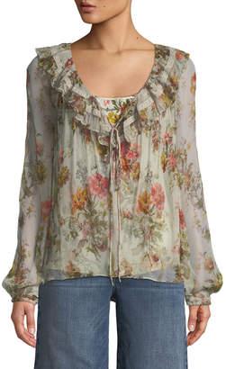 Needle & Thread Rainbow Rose Long-Sleeve Chiffon Blouse
