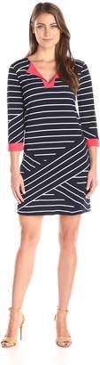 Tiana B Women's Stripe Pattern Knit Dress with Contrasting Combo Solid Neck and 3/4 Sleeves Cuffs, Navy/Coral