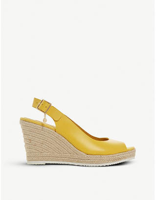 Dune Knox slingback espadrille wedge leather sandals