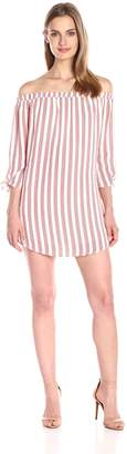 Lucca Couture Women's Off-Shoulder Stripe Dress with Knotted Sleeves, White/Lipstick