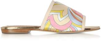 Emilio Pucci Yellow Printed Canvas and Leather Flat Slide Sandals