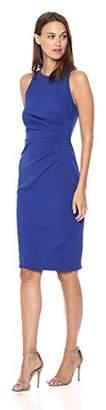 Adrianna Papell Women's Knit Crepe PLEATD LACE Trim Sheath Dress