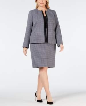 Le Suit Plus Size Plaid Flyaway Skirt Suit