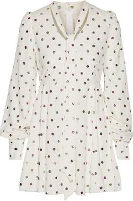 Marc Jacobs Pussy-Bow Glittered Cady Mini Dress