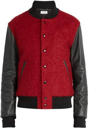 Saint Laurent Leather-panelled wool-blend bomber jacket