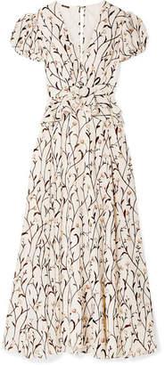 Johanna Ortiz Roses After The Rain Ruffled Floral-print Silk-crepe Maxi Dress - Cream