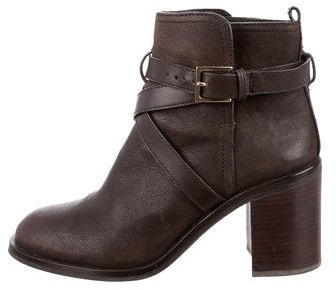 Tory Burch Tory Burch Leather Round-Toe Ankle Boots