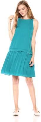 Paris Sunday Women's Sleeveless Drop Waist A-Line Short Dress with Banded Detail