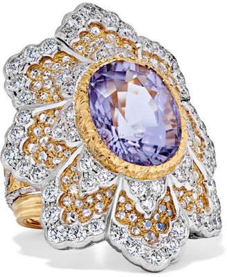 Buccellati 18-karat Yellow And White Gold Diamond And Tourmaline Ring