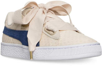 Puma Women's Basket Heart Denim Casual Sneakers from Finish Line $79.99 thestylecure.com