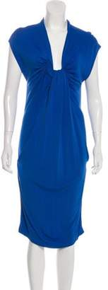 David Szeto Drape-Accented Midi Dress Blue Drape-Accented Midi Dress