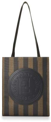 Fendi Brown Pequin Coated Canvas Tote