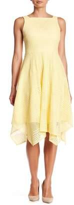London Times Crochet Lace Sharkbite Hem Dress