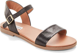 Steve Madden Black Dina Leather Flat Sandals