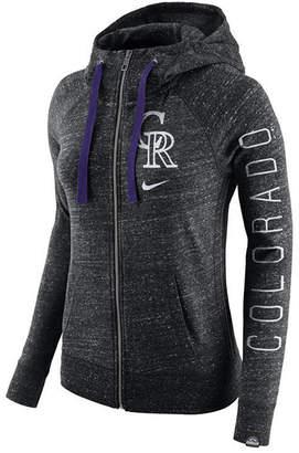 Nike Women Colorado Rockies Gym Vintage Full Zip Hooded Sweatshirt