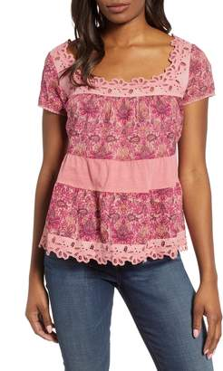 Lucky Brand Tiered Cap Sleeve Top