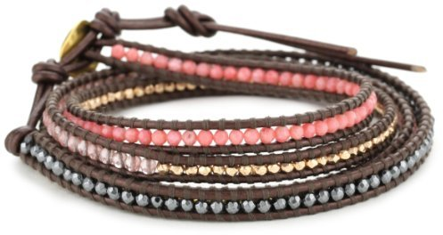 Chan Luu Pink Mix and Plated Beads On Tamba Leather Wrap Bracelet
