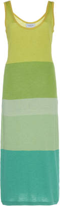 Tuinch Color-Blocked Silk-Blend Knit Midi Dress Size: M
