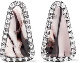 Kimberly McDonald - 18-karat Blackened White Gold, Opal And Diamond Earrings
