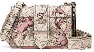 Prada Cahier Printed Leather Shoulder Bag - White