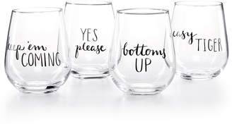 The Cellar CLOSEOUT! Words 4-Pc. Stemless Wine Glass Set, Created for Macy's