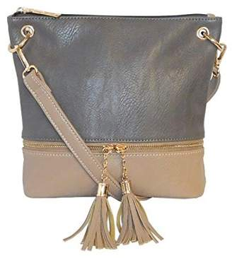 Kathy Ireland Taupe Super Soft Premium Vegan leather Dual Zipper Tassel Crossbody Handbag