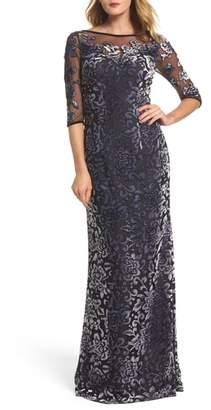 La Femme Burnout Velvet Gown