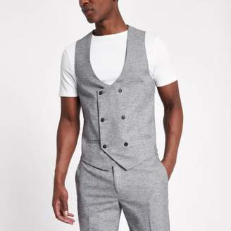 River Island Mens Light grey double breasted suit vest