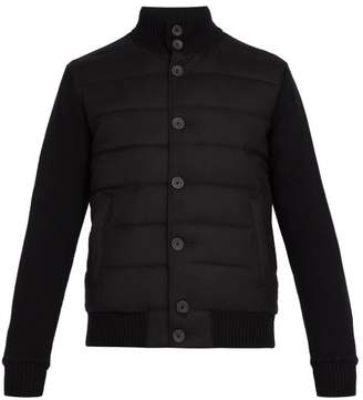 Herno Contrast Panel Quilted Down Wool Bomber Jacket - Mens - Black