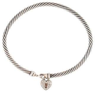 David Yurman Diamond Cable Collectibles Heart Charm Bracelet