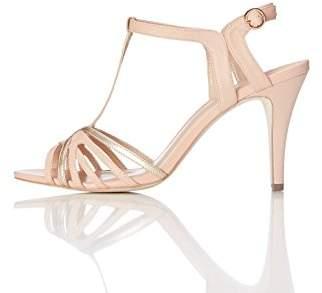 FIND Mid-Heel, Women's T-Bar Sandals Multicolour (White/Silver) (37 EU)